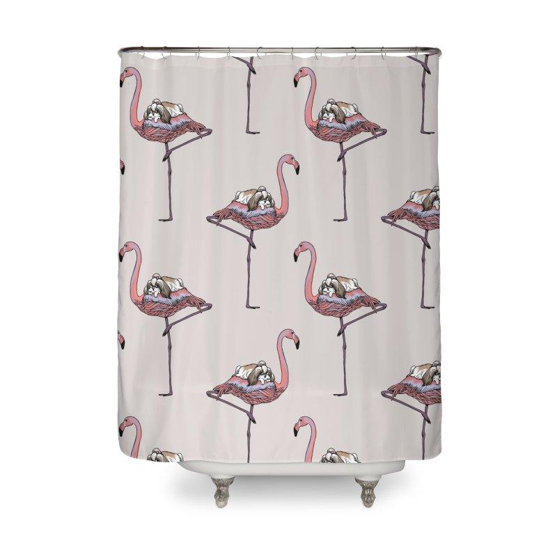 Flamingo and Shih Tzu Home Shower Curtain by huebucket's Artist Shop