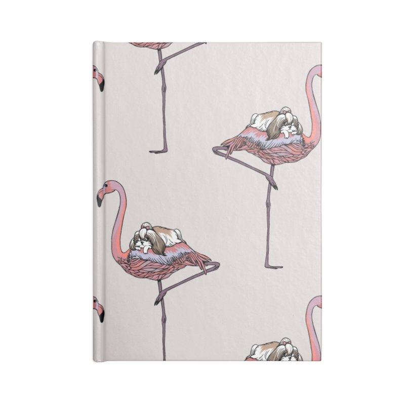 Flamingo and Shih Tzu Accessories Notebook by huebucket's Artist Shop