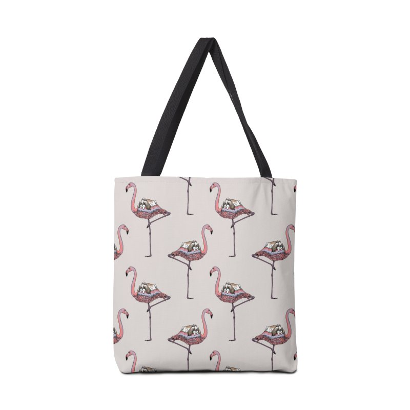 Flamingo and Shih Tzu Accessories Bag by huebucket's Artist Shop