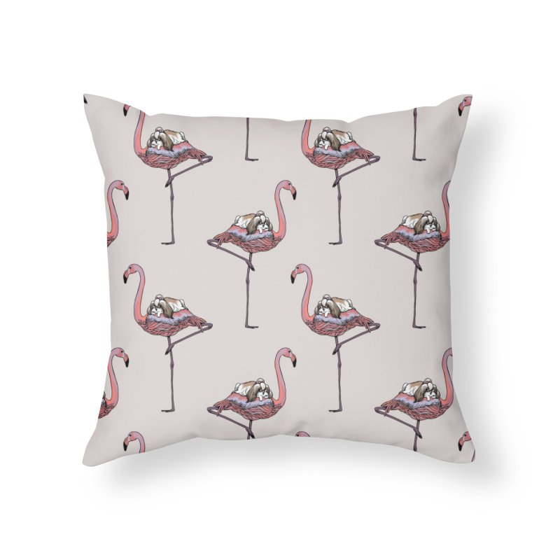 Flamingo and Shih Tzu Home Throw Pillow by huebucket's Artist Shop
