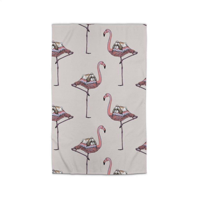 Flamingo and Shih Tzu Home Rug by huebucket's Artist Shop