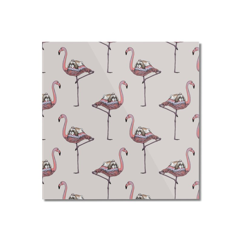 Flamingo and Shih Tzu Home Mounted Acrylic Print by huebucket's Artist Shop