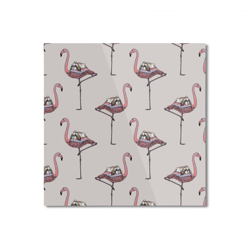 Flamingo and Shih Tzu Home Mounted Aluminum Print by huebucket's Artist Shop