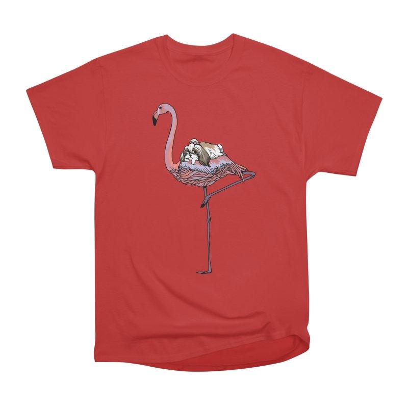 Flamingo and Shih Tzu Men's Heavyweight T-Shirt by huebucket's Artist Shop