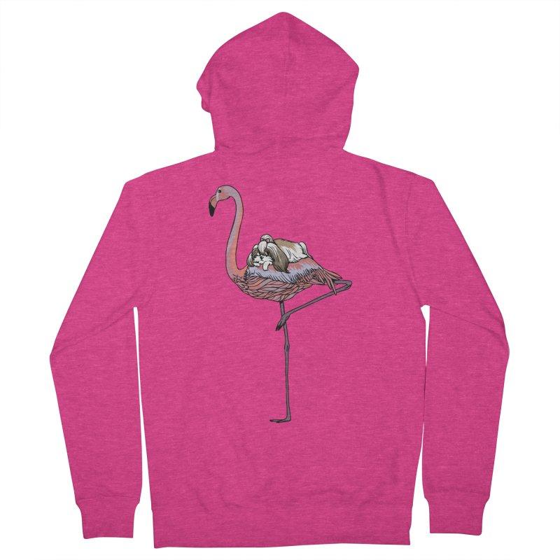 Flamingo and Shih Tzu Women's French Terry Zip-Up Hoody by huebucket's Artist Shop