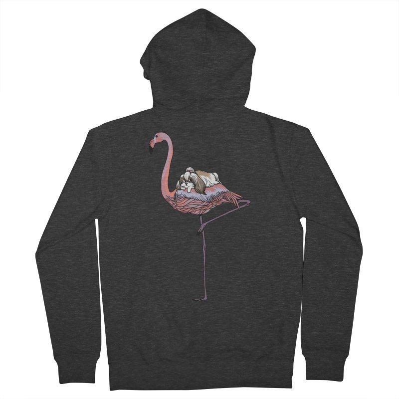 Flamingo and Shih Tzu Men's French Terry Zip-Up Hoody by huebucket's Artist Shop