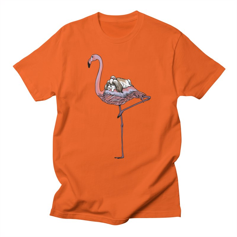 Flamingo and Shih Tzu Women's Regular Unisex T-Shirt by huebucket's Artist Shop