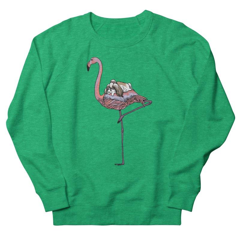 Flamingo and Shih Tzu Women's French Terry Sweatshirt by huebucket's Artist Shop