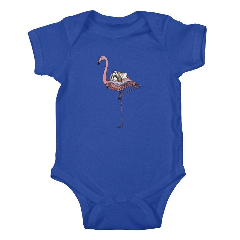 Flamingo and Shih Tzu Kids Baby Bodysuit by huebucket's Artist Shop