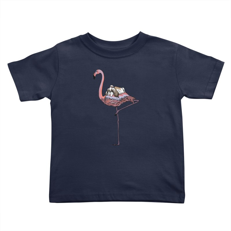 Flamingo and Shih Tzu Kids Toddler T-Shirt by huebucket's Artist Shop