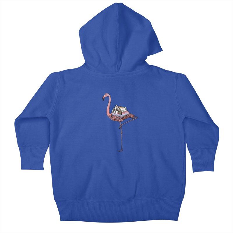 Flamingo and Shih Tzu Kids Baby Zip-Up Hoody by huebucket's Artist Shop