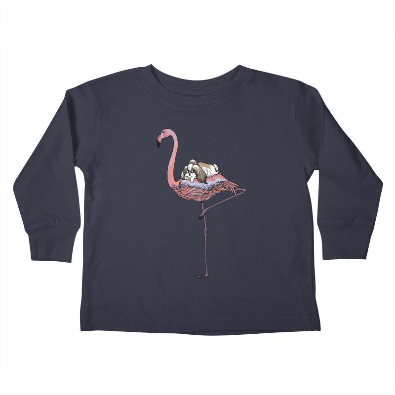 Flamingo and Shih Tzu Kids Toddler Longsleeve T-Shirt by huebucket's Artist Shop