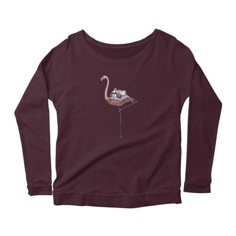 Flamingo and Shih Tzu Women's Longsleeve T-Shirt by huebucket's Artist Shop