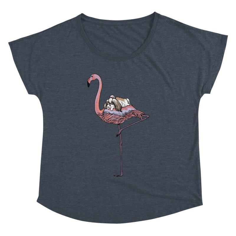 Flamingo and Shih Tzu Women's Dolman Scoop Neck by huebucket's Artist Shop