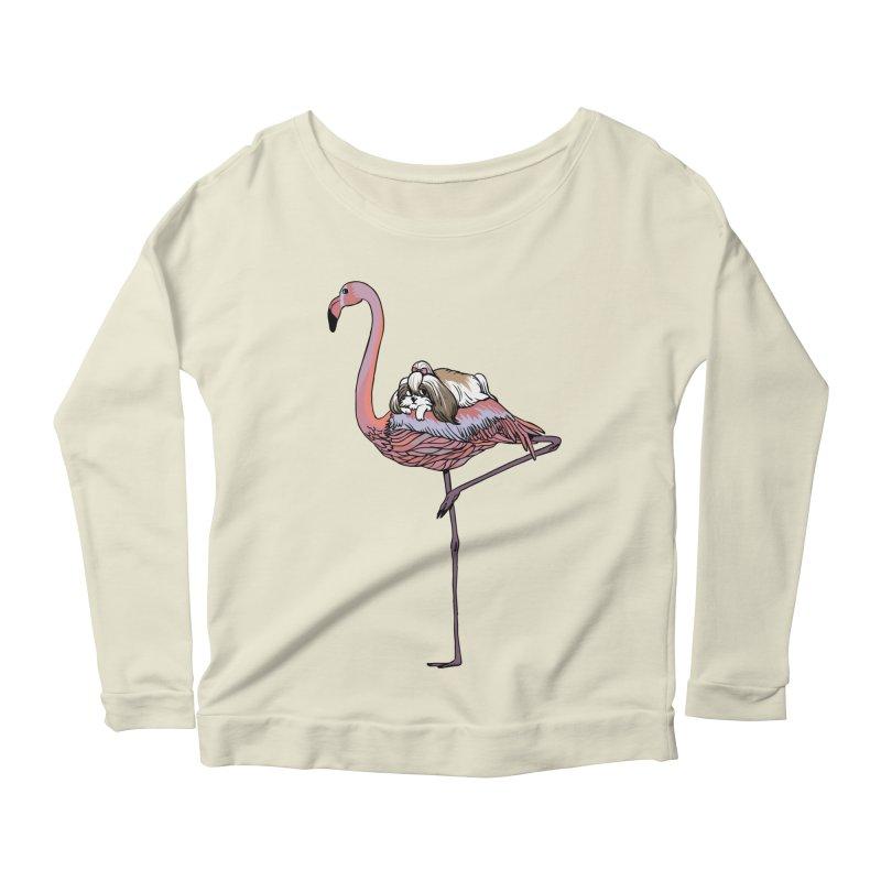 Flamingo and Shih Tzu Women's Scoop Neck Longsleeve T-Shirt by huebucket's Artist Shop
