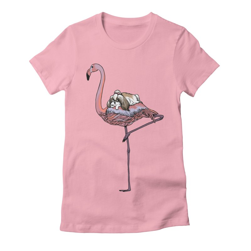 Flamingo and Shih Tzu Women's Fitted T-Shirt by huebucket's Artist Shop