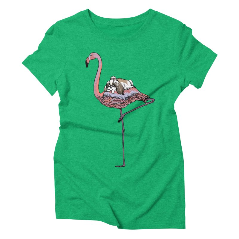 Flamingo and Shih Tzu Women's Triblend T-Shirt by huebucket's Artist Shop