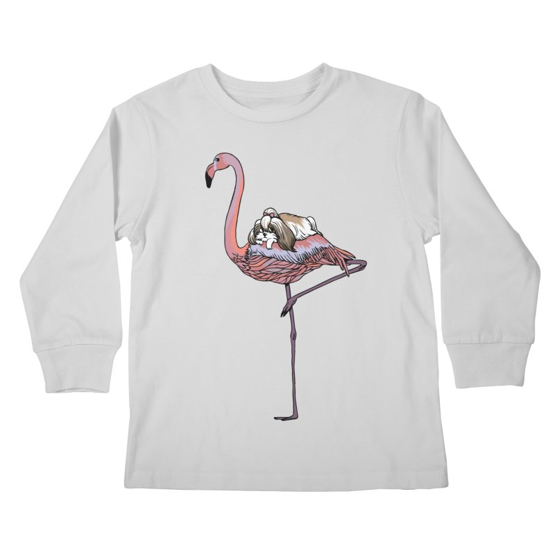 Flamingo and Shih Tzu Kids Longsleeve T-Shirt by huebucket's Artist Shop