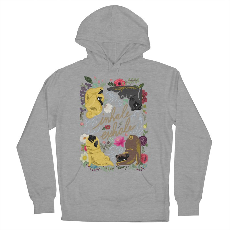 Inhale Exhale Pug Yoga Men's French Terry Pullover Hoody by huebucket's Artist Shop
