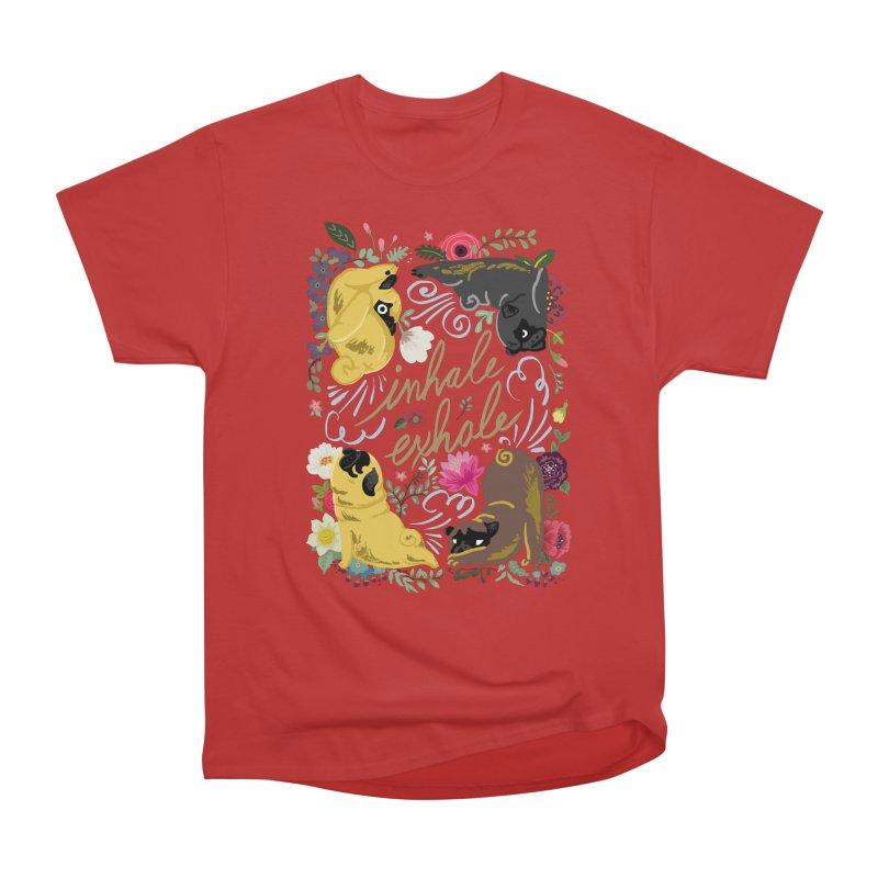 Inhale Exhale Pug Yoga Women's Heavyweight Unisex T-Shirt by huebucket's Artist Shop