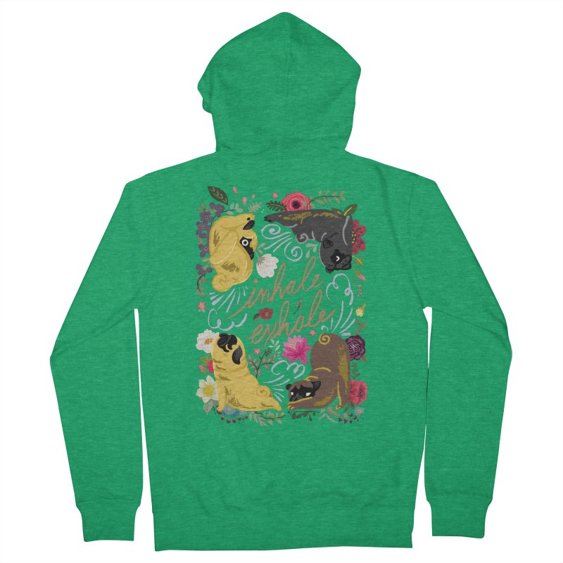 Inhale Exhale Pug Yoga Women's French Terry Zip-Up Hoody by huebucket's Artist Shop