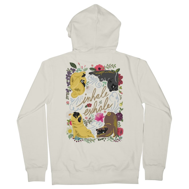 Inhale Exhale Pug Yoga Men's French Terry Zip-Up Hoody by huebucket's Artist Shop