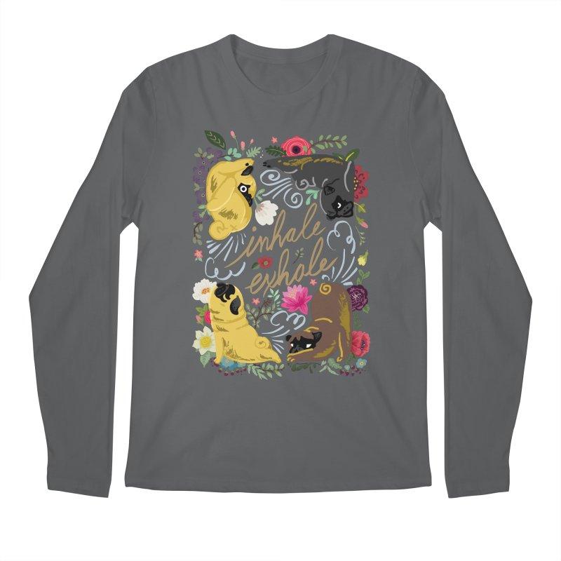 Inhale Exhale Pug Yoga Men's Regular Longsleeve T-Shirt by huebucket's Artist Shop