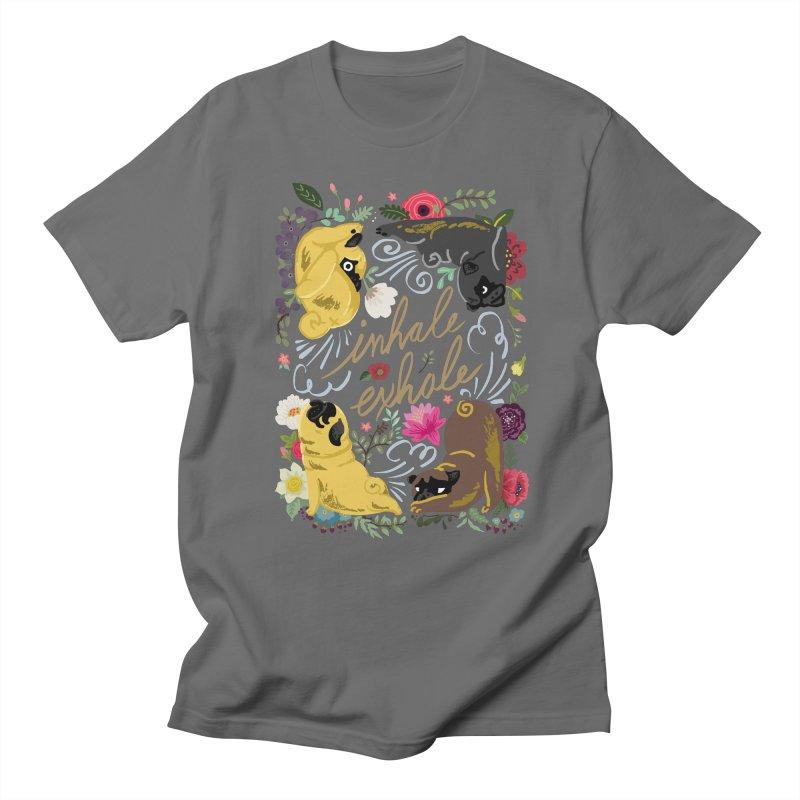 Inhale Exhale Pug Yoga Women's Regular Unisex T-Shirt by huebucket's Artist Shop