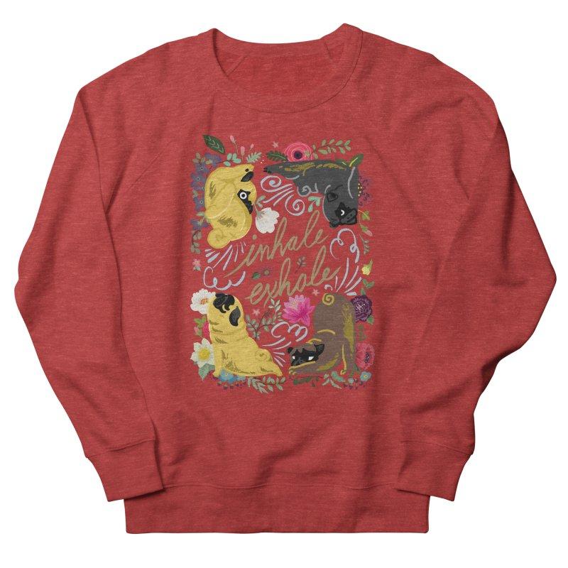 Inhale Exhale Pug Yoga Men's French Terry Sweatshirt by huebucket's Artist Shop