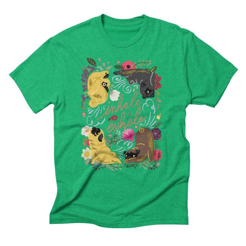Inhale Exhale Pug Yoga Men's Triblend T-Shirt by huebucket's Artist Shop