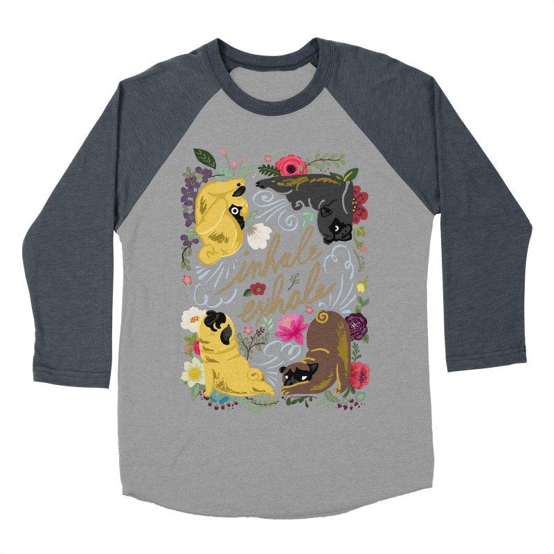 Inhale Exhale Pug Yoga Women's Baseball Triblend Longsleeve T-Shirt by huebucket's Artist Shop