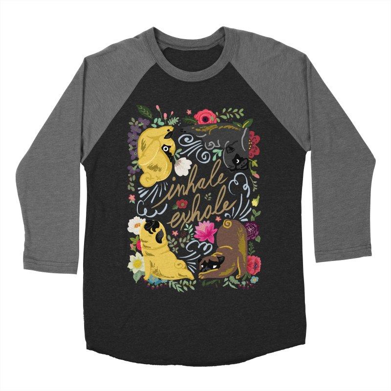 Inhale Exhale Pug Yoga Men's Baseball Triblend Longsleeve T-Shirt by huebucket's Artist Shop