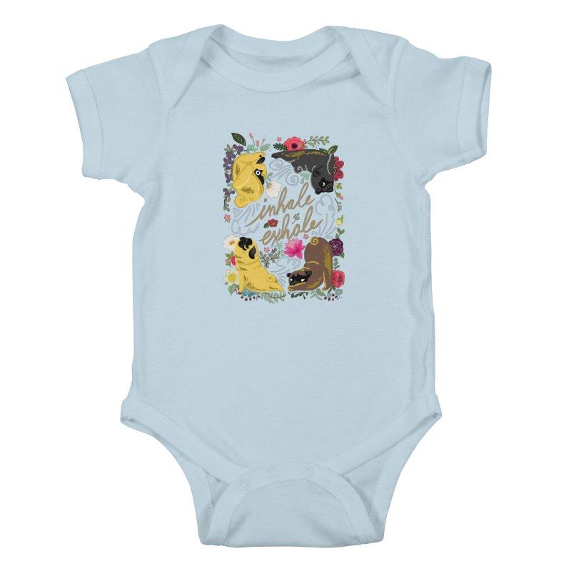 Inhale Exhale Pug Yoga Kids Baby Bodysuit by huebucket's Artist Shop