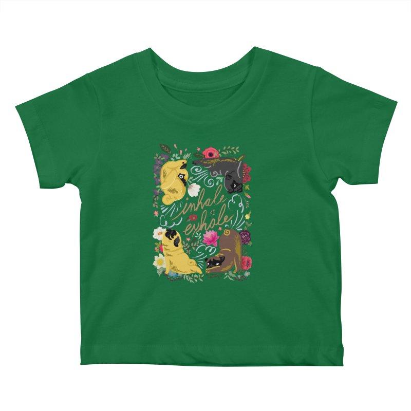 Inhale Exhale Pug Yoga Kids Baby T-Shirt by huebucket's Artist Shop