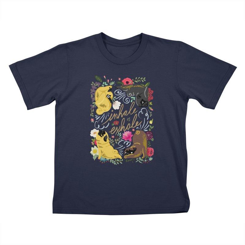 Inhale Exhale Pug Yoga Kids T-Shirt by huebucket's Artist Shop