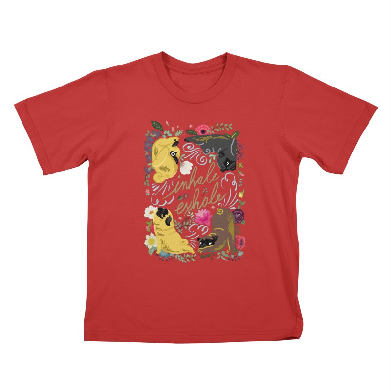 Inhale Exhale Pug Yoga Kids T-Shirt by huebucket's Artist Shop