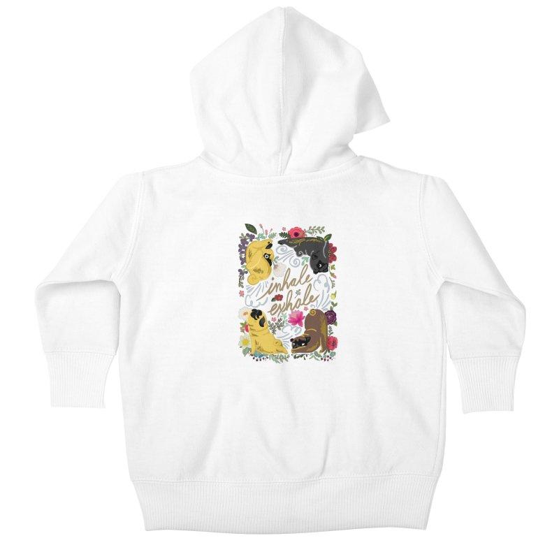 Inhale Exhale Pug Yoga Kids Baby Zip-Up Hoody by huebucket's Artist Shop