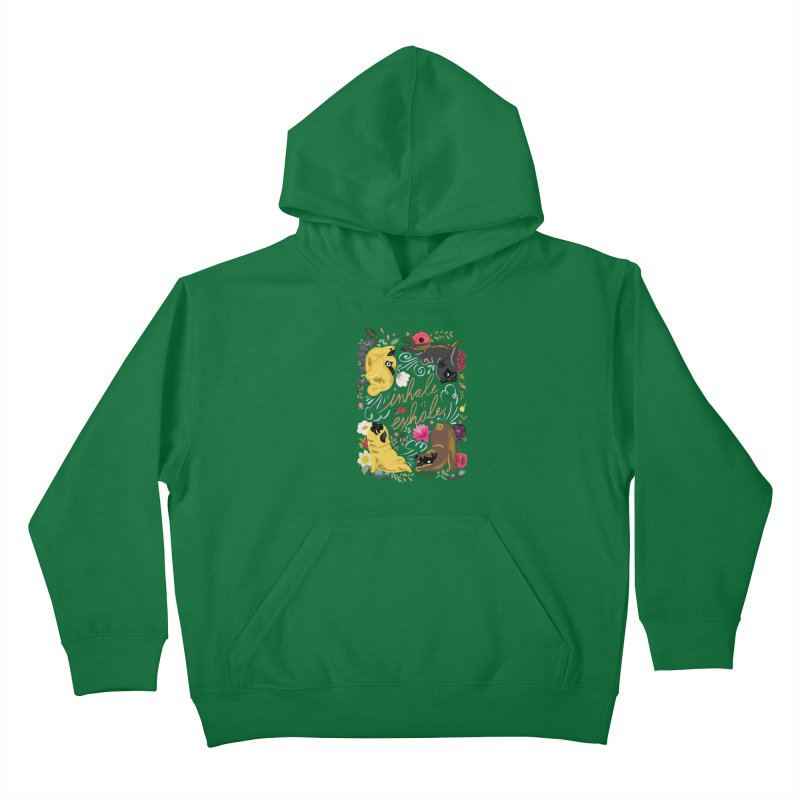 Inhale Exhale Pug Yoga Kids Pullover Hoody by huebucket's Artist Shop