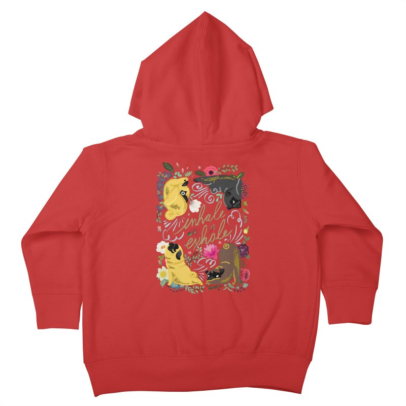 Inhale Exhale Pug Yoga Kids Toddler Zip-Up Hoody by huebucket's Artist Shop