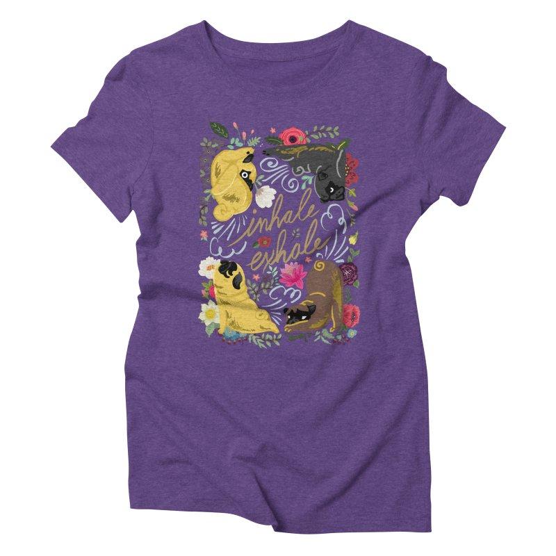 Inhale Exhale Pug Yoga Women's Triblend T-Shirt by huebucket's Artist Shop