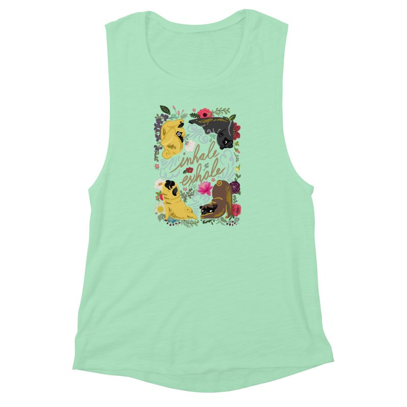 Inhale Exhale Pug Yoga Women's Muscle Tank by huebucket's Artist Shop