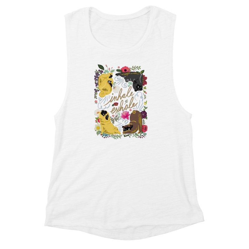 Inhale Exhale Pug Yoga Women's Muscle Tank by huebucket's Artist Shop