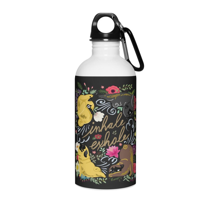 Inhale Exhale Pug Yoga Accessories Water Bottle by huebucket's Artist Shop