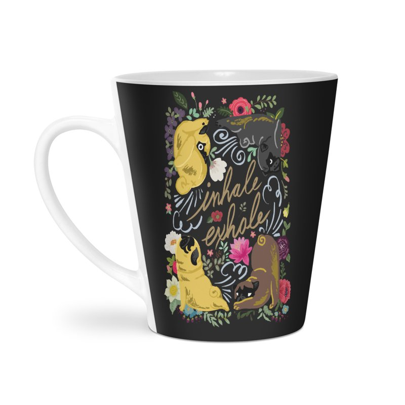 Inhale Exhale Pug Yoga Accessories Latte Mug by huebucket's Artist Shop