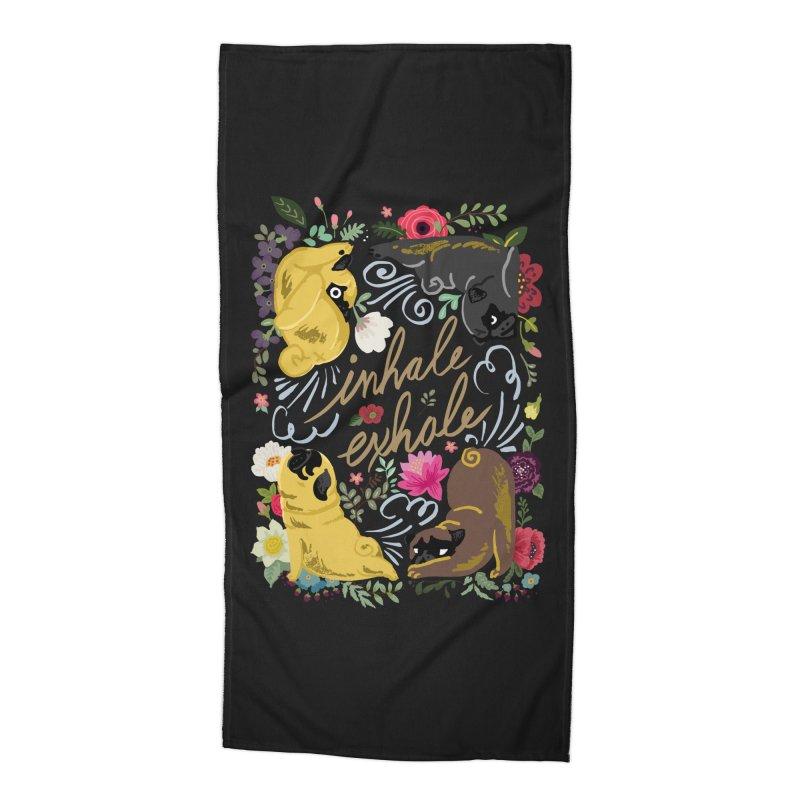 Inhale Exhale Pug Yoga Accessories Beach Towel by huebucket's Artist Shop