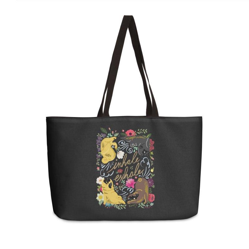 Inhale Exhale Pug Yoga Accessories Weekender Bag Bag by huebucket's Artist Shop