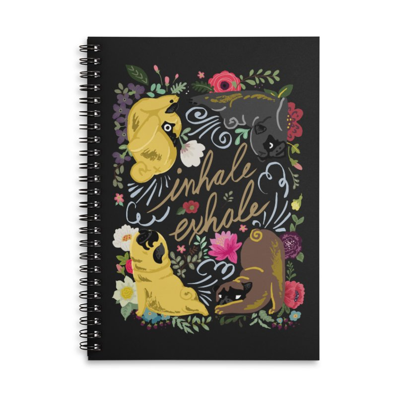 Inhale Exhale Pug Yoga Accessories Lined Spiral Notebook by huebucket's Artist Shop