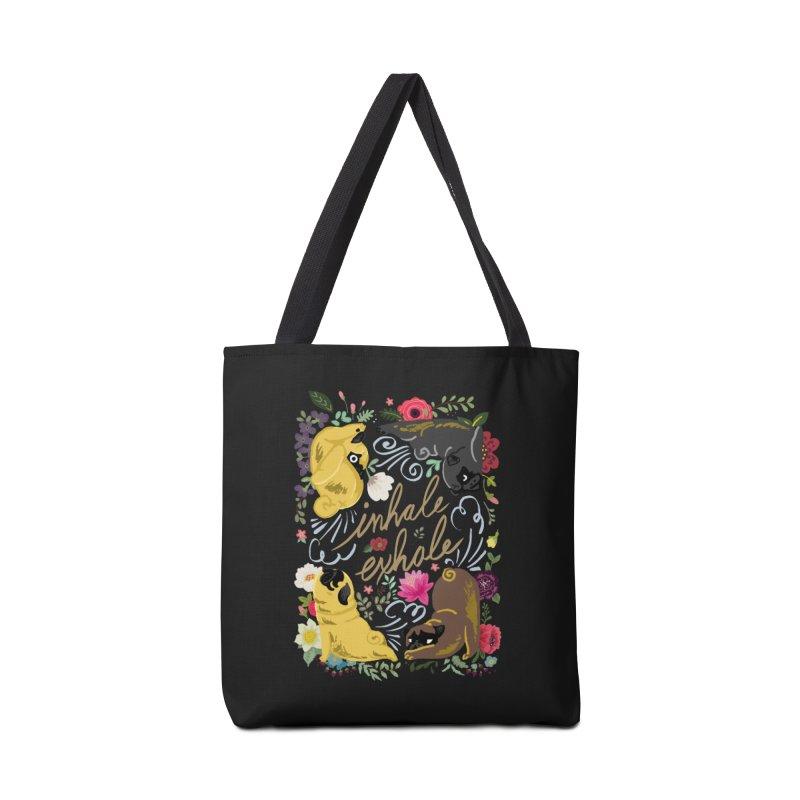Inhale Exhale Pug Yoga Accessories Bag by huebucket's Artist Shop