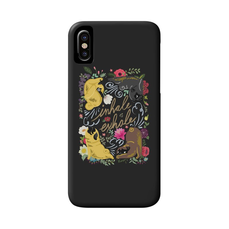 Inhale Exhale Pug Yoga Accessories Phone Case by huebucket's Artist Shop