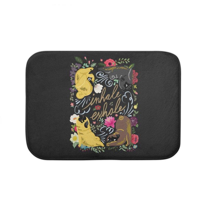 Inhale Exhale Pug Yoga Home Bath Mat by huebucket's Artist Shop